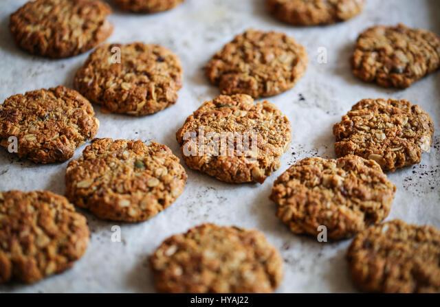 traditional anzac oat cookies - Stock Image