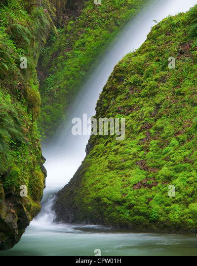 Mount Hood National Forest, OR: Detail of Bridal Veil Falls and moss covered rocks - Stock Image