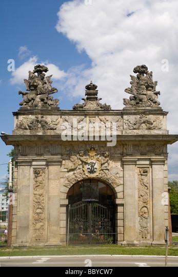 Poland Szczecin Royal gate - Stock Image