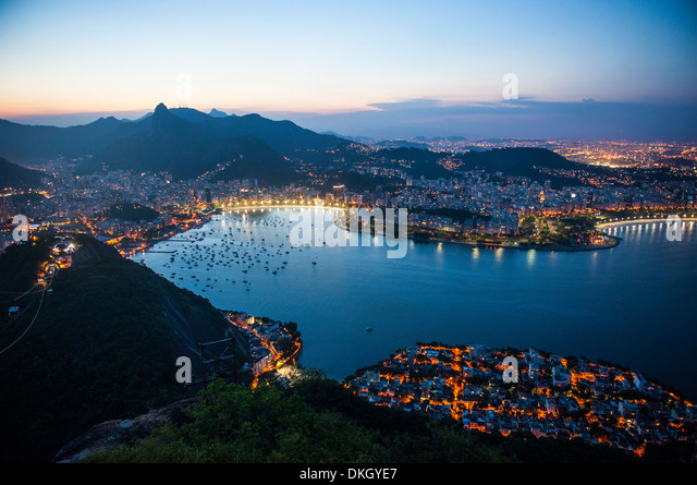 View from the Sugarloaf at sunset, Rio de Janeiro, Brazil, South America - Stock Image