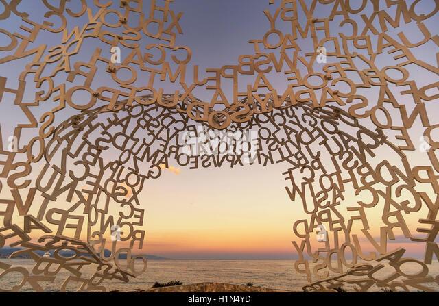 Metal sculpture  La Grande Nomade d'Antibes by catalan artist  Jaume Plensa, Antibes, Côte d'Azur, French - Stock Image