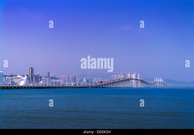 Morning Of Macau. Friendship Bridge. View from the Taipa. - Stock Image