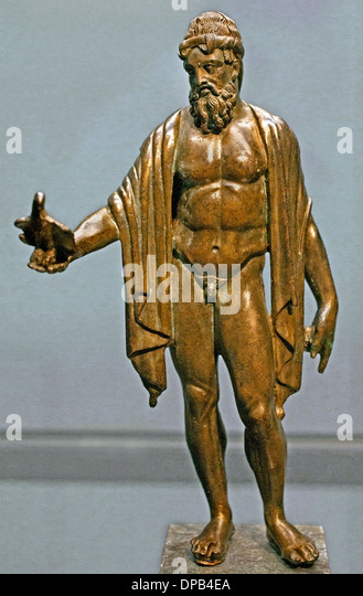 Zeus - Jupiter God of Heaven with his holy eagle 200 AD Roman Greek Greece - Stock Image