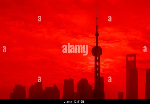 Cityscape, Skyline, sunrise, Shanghai, China - Stock Image
