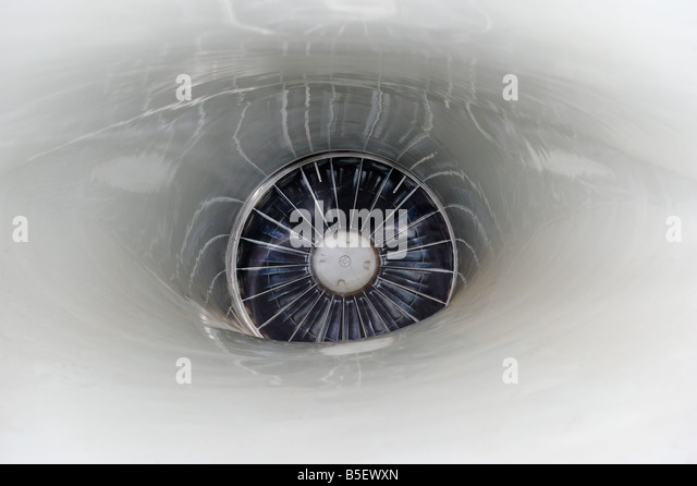 Close up of a F16 jet engine seen from the front end - Stock Image