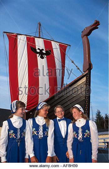 Alaska Petersburg Norwegian descendents fishing village Leikarring Dancers Vahalla Viking ship boat replica - Stock Image