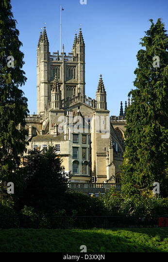 Looking towards the east end of Bath Abbey, Bath, England - Stock Image