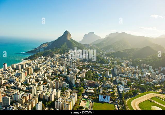 Aerial view of Lagoa and Ipanema, Rio de Janeiro Brazil - Stock Image