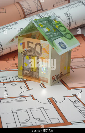 Building of a house, banknotes, architect's plan, construction, building of a house, architecture, build, layout, - Stock Image