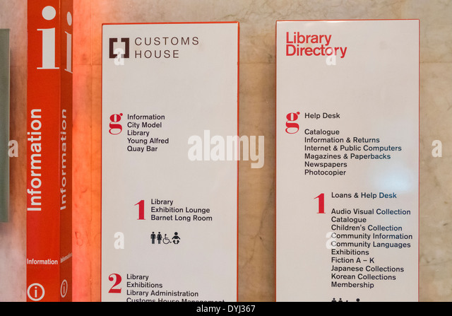 Sydney Australia NSW New South Wales CBD Central Business District Customs House lobby information directory sign - Stock Image
