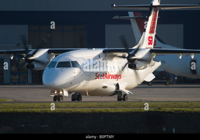 Scot Airways Dornier 328 taxiing at London City Airport, England, UK. - Stock Image
