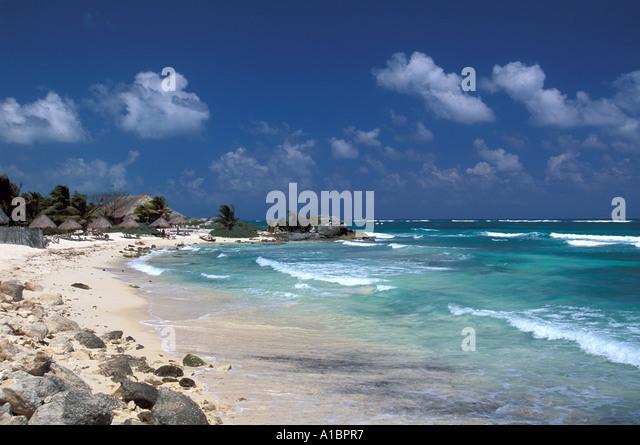 beach Yucatan Mexico Sian Kaan Biosphere Reserve  caribbean coast beach - Stock Image