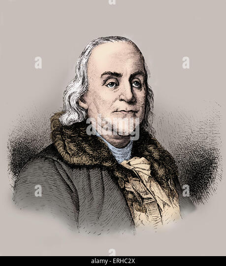 Benjamin Franklin - portrait of the American printer, writer, abolitionist, scientist and inventor. 17 January 1706 - Stock Image
