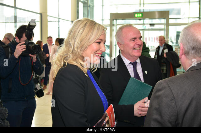 Armagh City, UK. 15th February 2017. Sinn Féin Party Leader Michelle O'Neill at the  parties Manifesto - Stock Image