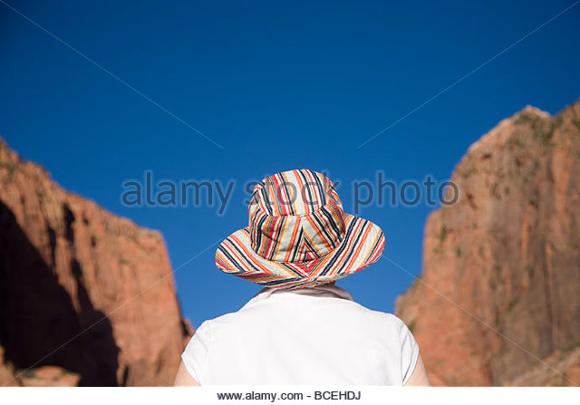 A women looking at the landscape in Zion National Park, Utah. Monument Valley, USA. - Stock-Bilder