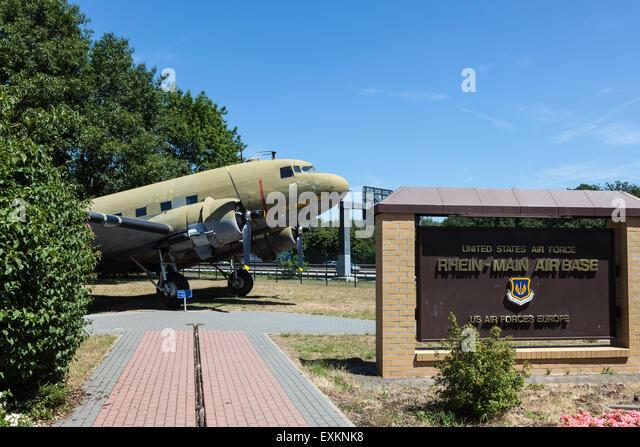 Raisin Bomber Douglas DC-3 at the Airlift Memorial at Rhein Main Air Base. July 10, 2015 in Frankfurt Main, Germany - Stock Image