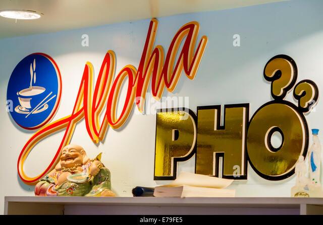Hawaii Hawaiian Oahu Honolulu Chinatown Aloha Pho Vietnamese restaurant sign - Stock Image