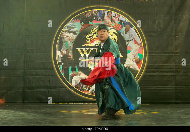 Sipalki Martial Art of Korea at the Budo Festival in Turin,Italy,managed by the WTKA, World Traditional Karaté - Stock Image