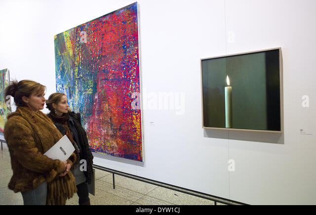 Abstract Painting and Candle - Stock Image