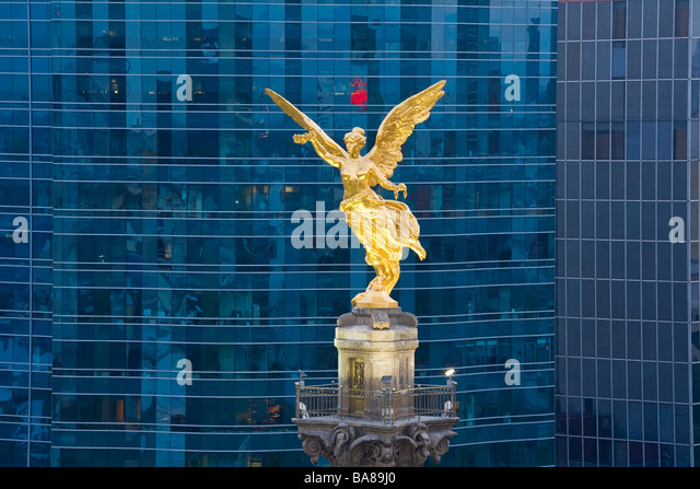 El Angel Independence Monument offices Mexico City Mexico - Stock Image