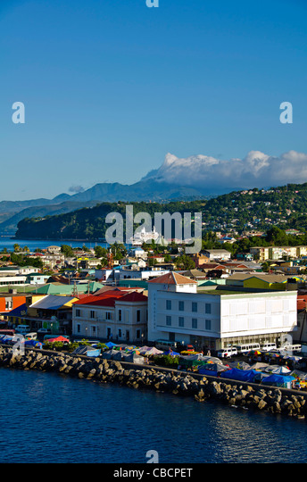 Roseau Dominica city aerial overview of this Eastern Caribbean cruise port - Stock Image