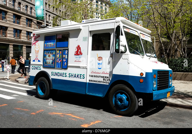 A Mister Softee ice cream truck parked on a street in Manhattan, New York City. - Stock Image