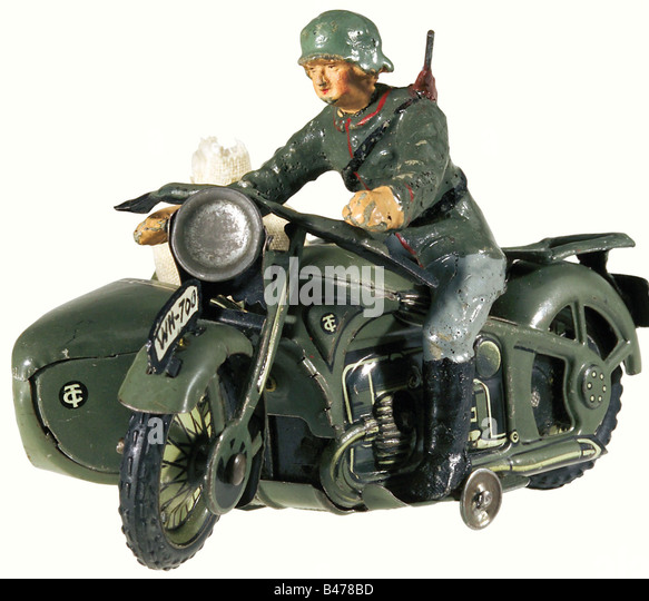 A motorcycle/sidecar combination, by the Tipp-Co. Company. Field grey lacquered/lithographed, full sheet metal version - Stock Image