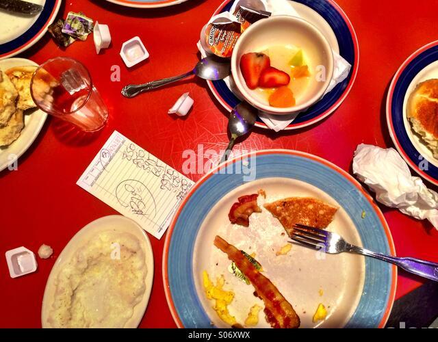 Breakfast in New York diner with check - Stock-Bilder
