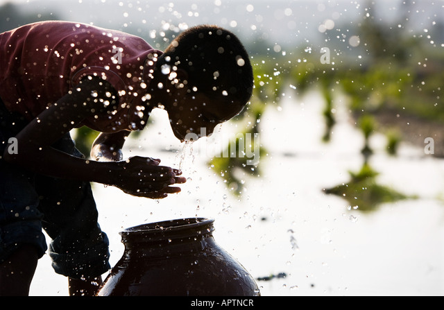 Silhouette of an Indian boy face washing from a clay pot next to of a rice paddy field. India - Stock Image