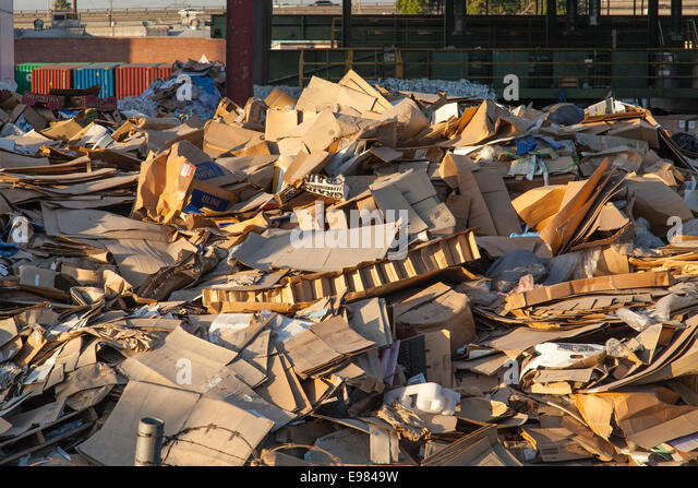 Cardboard boxes at Recycling Station, downtown Los Angeles, California, USA - Stock Image