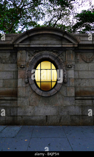 Decorative architectural detail of park wall in New York City. - Stock-Bilder