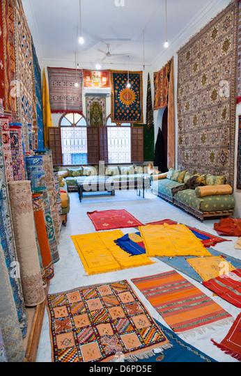 Carpet shop in Marrakech souks, Morocco, North Africa, Africa - Stock-Bilder