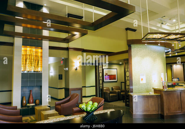 Virginia Roanoke Hyatt Place lobby decor design furniture - Stock Image