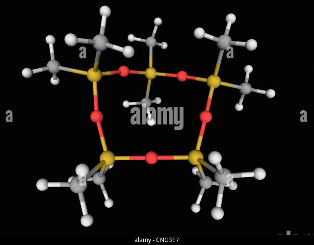 Decamethylcyclopentasiloxane molecule - Stock Image