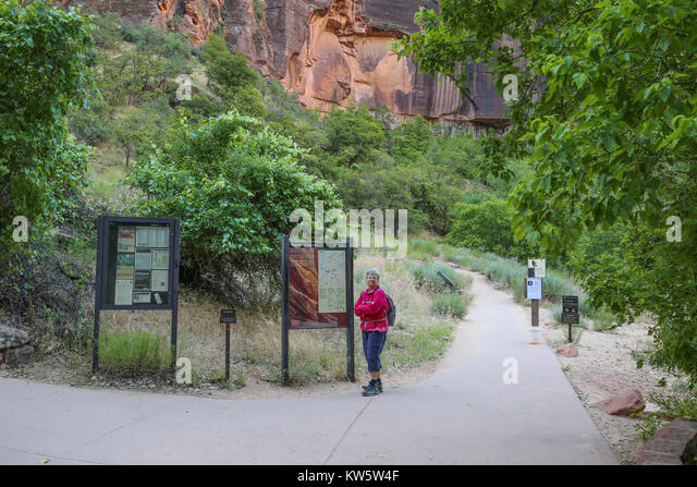 Weeping Rock Trailhead Zion National Park - Stock Image