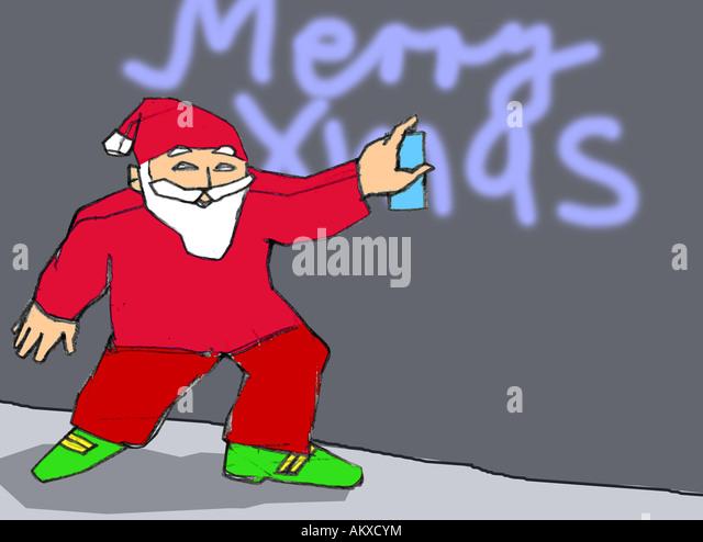 Spraying Santa Claus, illustration - Stock Image
