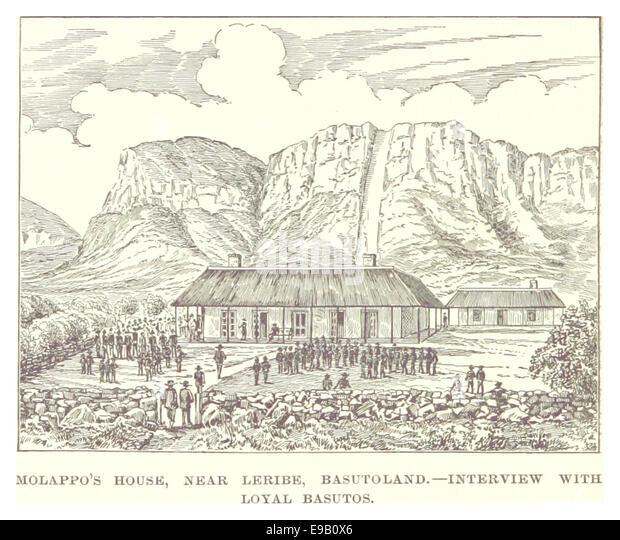 IY188 pg394 MOLAPPO'S HOUSE NEAR LERIBE, BASUTOLAND, INTERVIEW WITH LOYAL BASUTOS - Stock Image