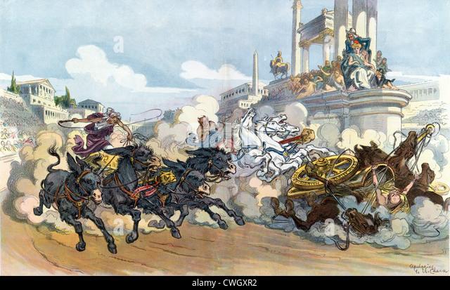Chariot race illustration - Stock Image