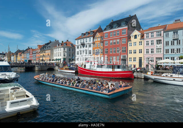 Nyhavn Channel, excursion boat, Copenhagen, Capital Region of Denmark, Denmark - Stock Image
