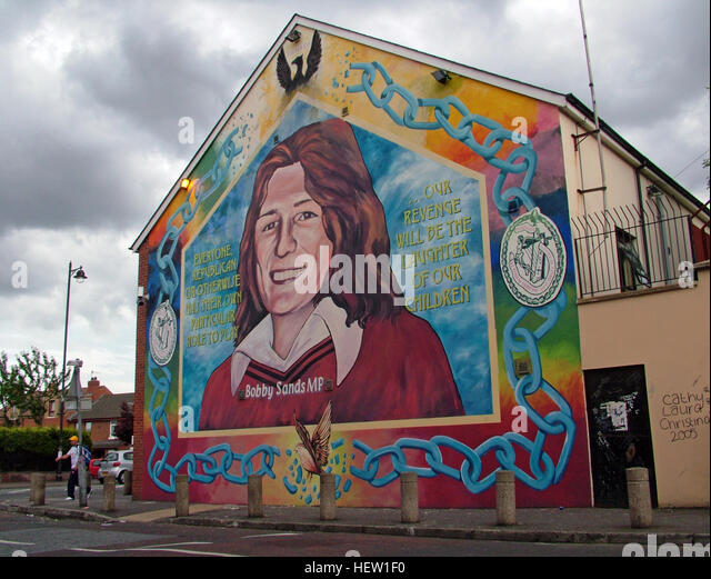 Belfast Falls Rd Republican Mural- Bobby Sands RIP - Stock Image