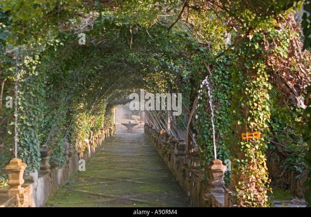 Spain Mallorca Jardins Alfabia fountain parkway - Stock Image