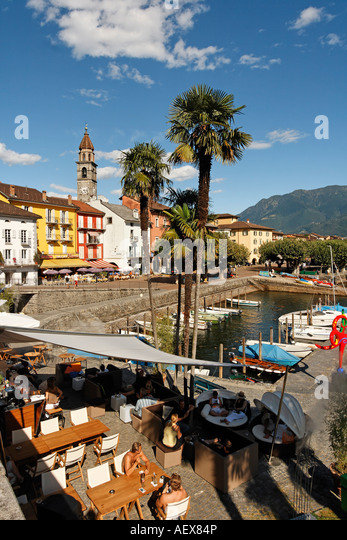 Switzerland Ticino Ascona Lounge at lake promenade - Stock Image