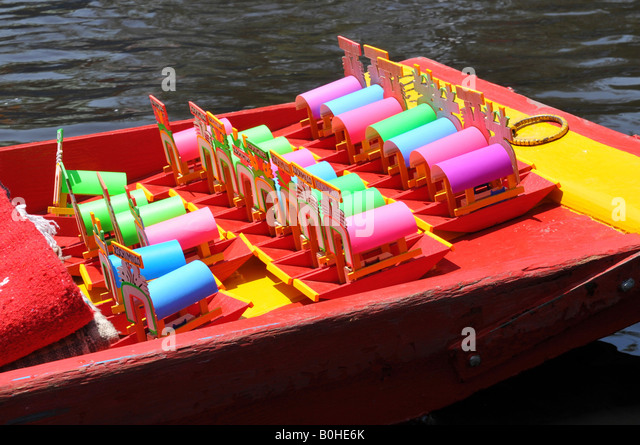 Boats, Trajineras, Xochimilco, Mexico City, Mexico, North America - Stock Image