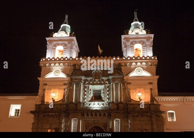 Iglesia San Francisco Church at Night, Quito, Ecuador - Stock Image