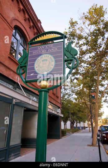 San Jose History Walk Sign, Downtown San Jose, California, USA. - Stock Image