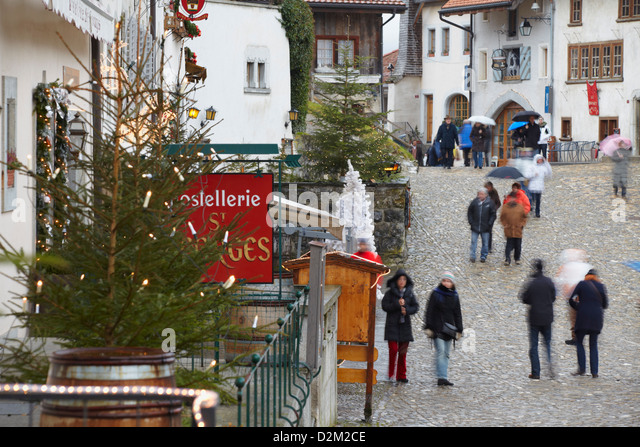 Christmas Decorations Outdoors Switzerland Stock Photos