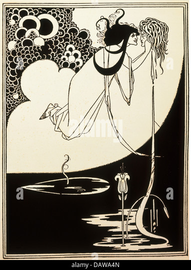 fine arts, Beardsley, Aubrey (1872 - 1898), print, 'Die Apotheose', illustration for the play 'Salome' - Stock Image