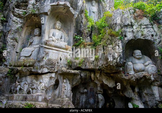 Lingyin buddhist temple stock photos