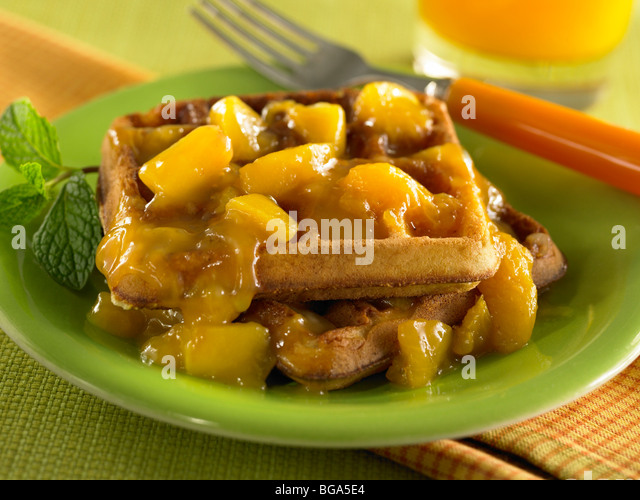 Peach waffles - Stock Image