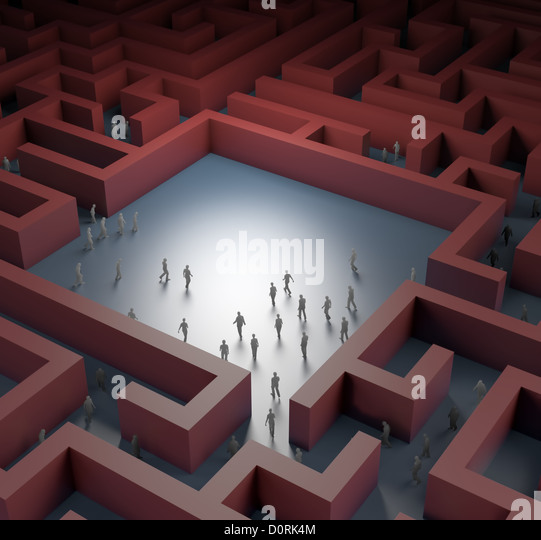 Tiny people in a maze - Stock-Bilder